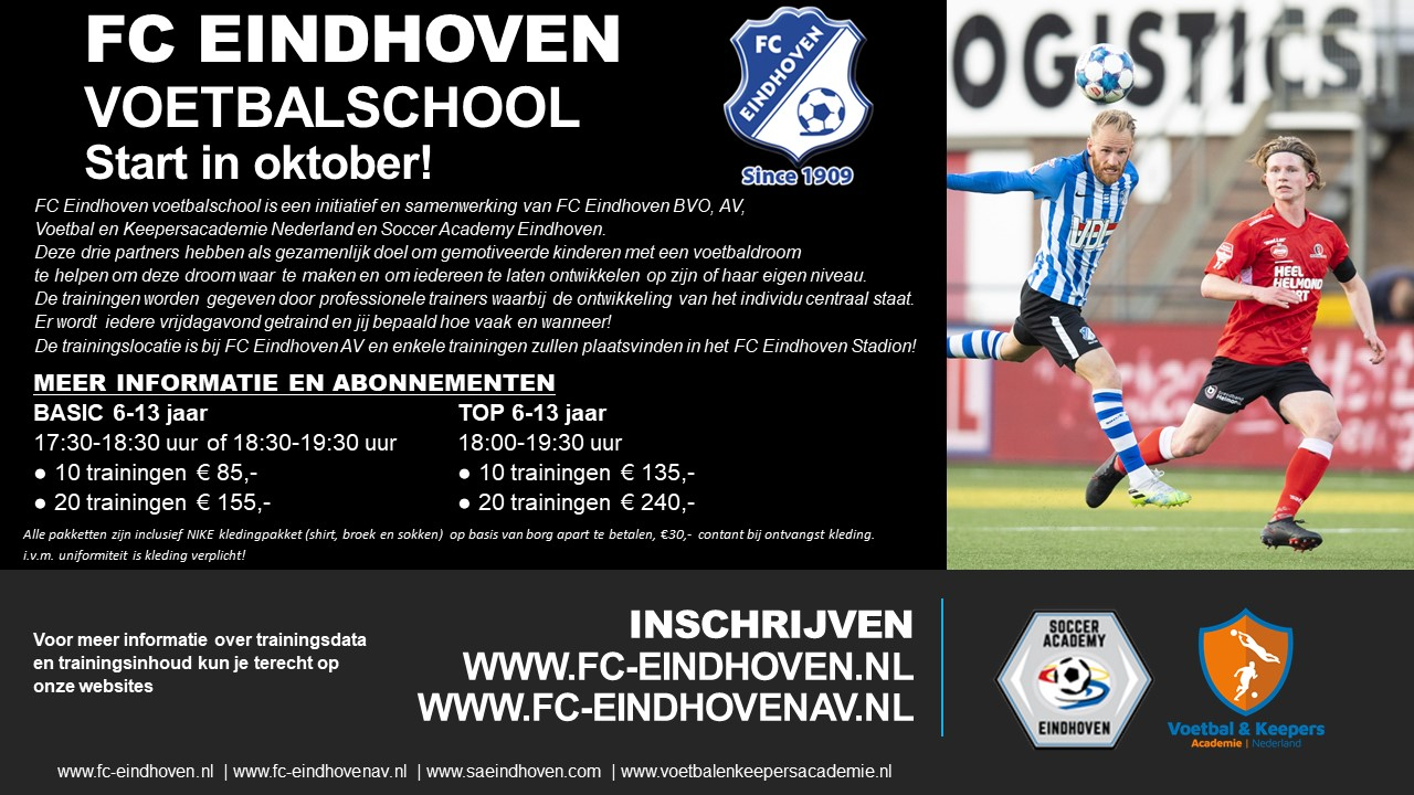 Opening inschrijving FC Eindhoven Voetbalschool
