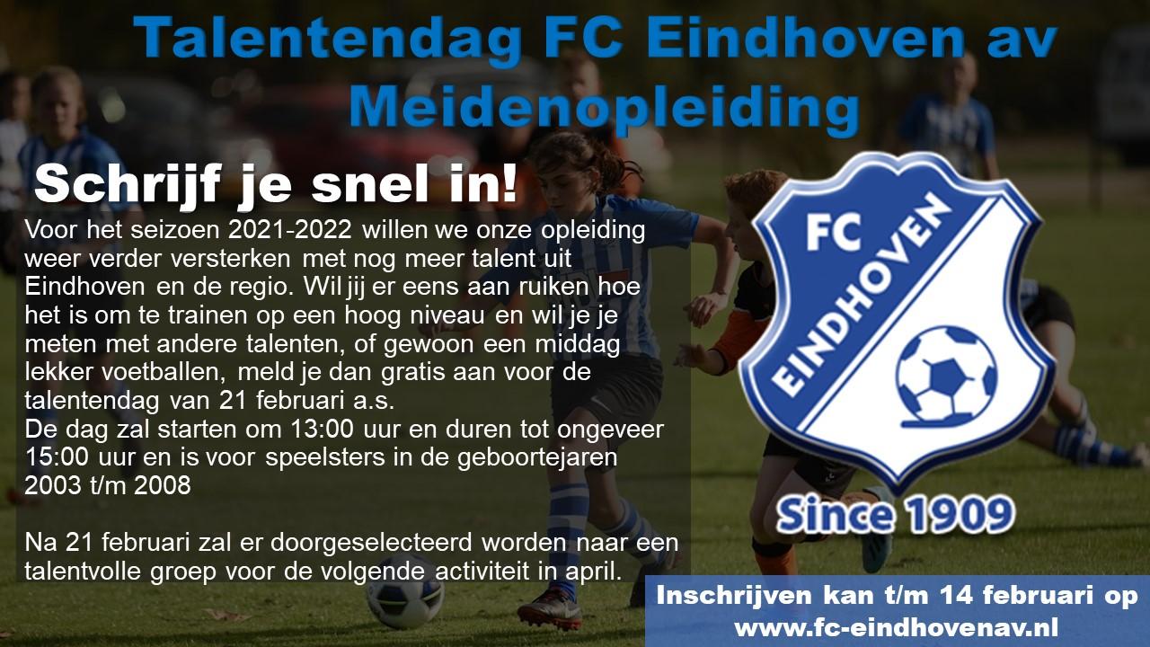 TALENTENDAG FC EINDHOVEN AV MEIDENOPLEIDING!